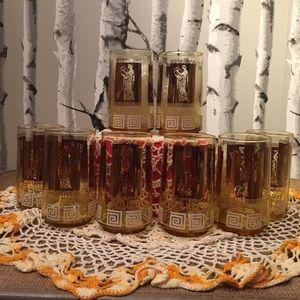 8 Art Deco Gold Greek Greek Motif Glasses